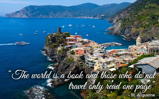 Cinque Terre with quote
