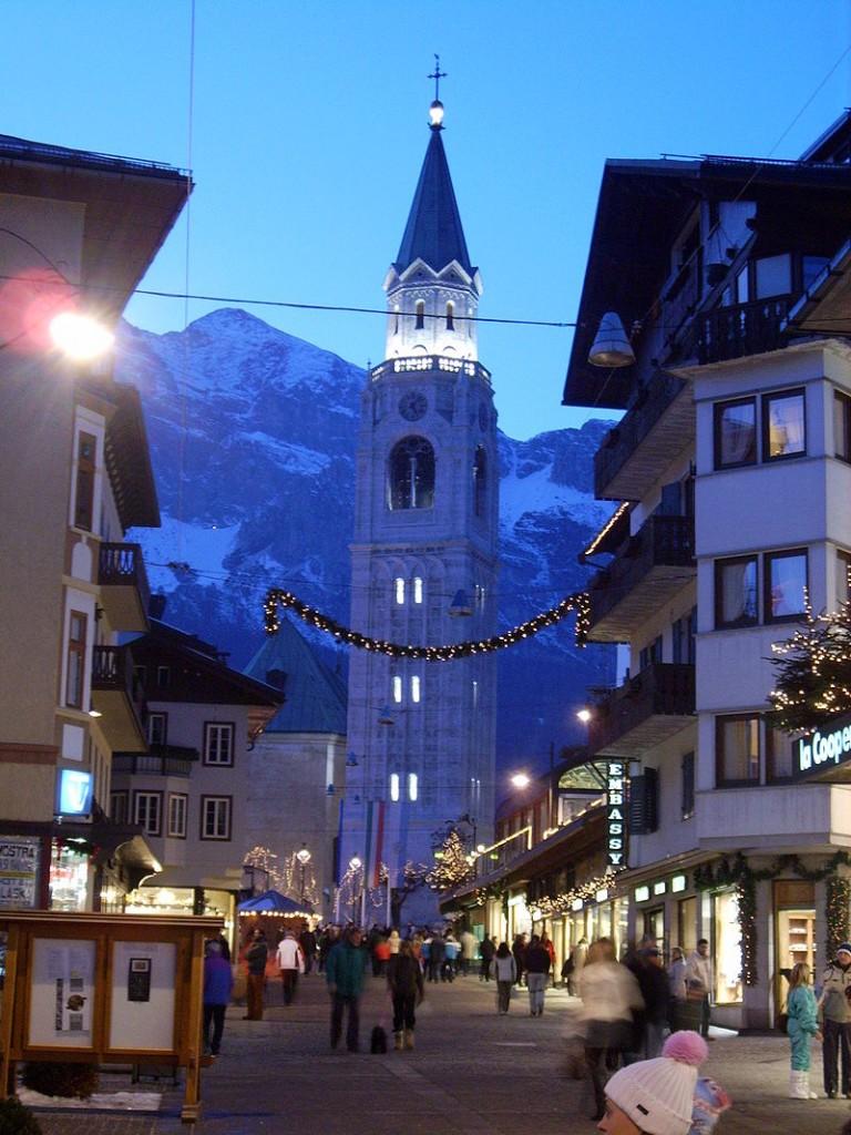 Cortina city centre in Dolomites Italy