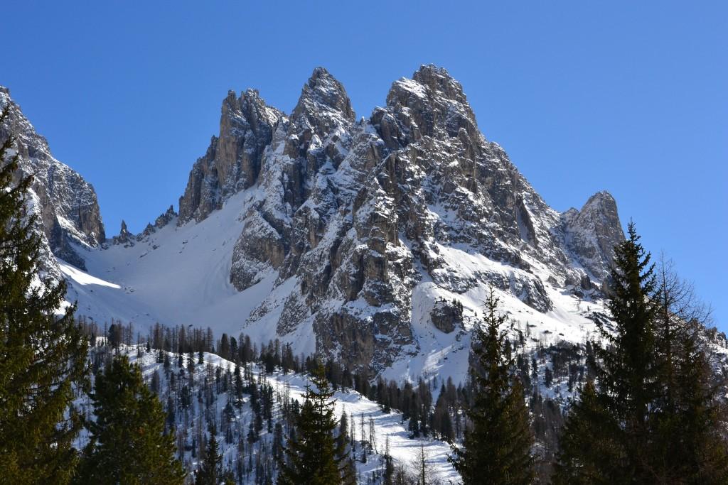 Cristallo mountains and snow in Cortina